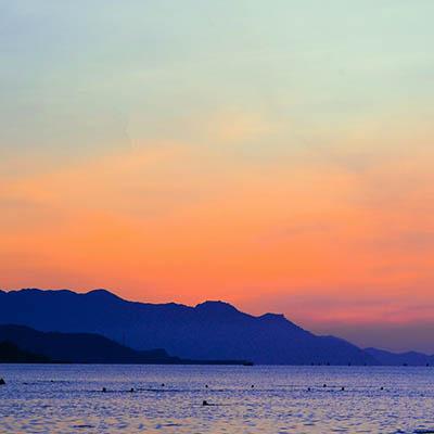 Sunset behind mountains