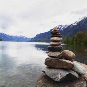 Stones on lake